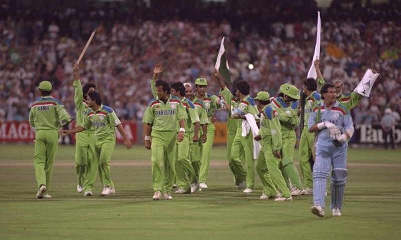 The Pakistan cricket team wins the 1992 Cricket World Cup in Melbourne, Australia.