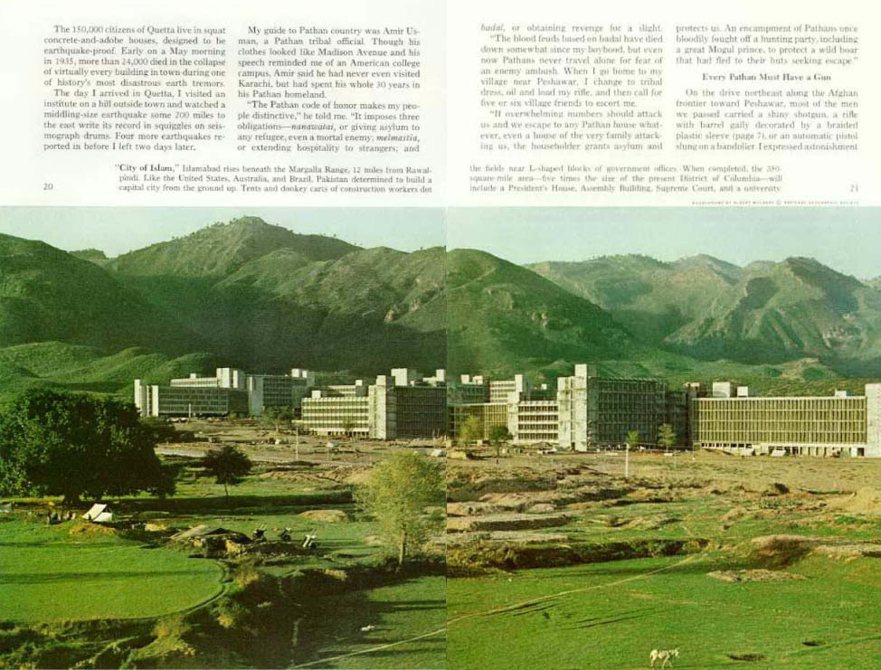 An article on Islamabad in a 1967 issue of the National Geographic. Islamabad began being built in the early 1960s and became Pakistan's new capital in 1967.