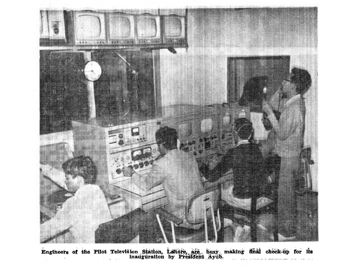 Technicians and engineers get ready to launch Pakistan's first ever television station and transmission in Lahore (1964).