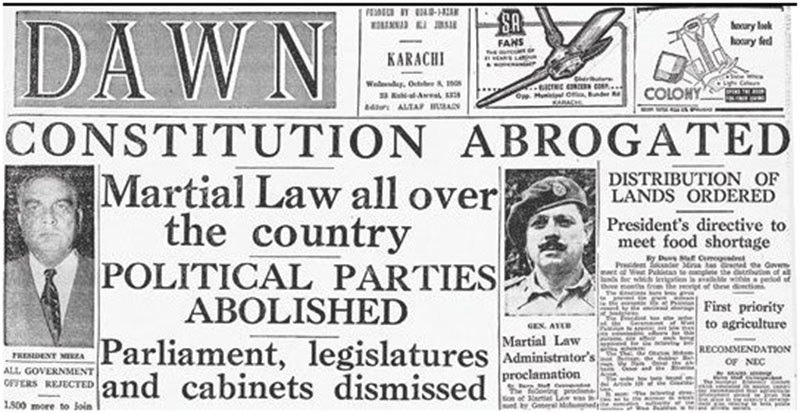 Front page of DAWN the morning after Pakistan's first Martial Law.