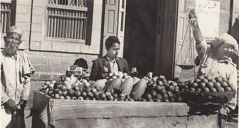 A fruit-seller in Karachi's Saddar area, 1949.