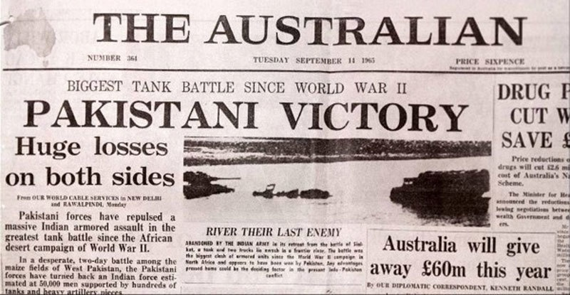An Australian newspaper headline about a tank battle between Pakistan and Indian forces in 1965.