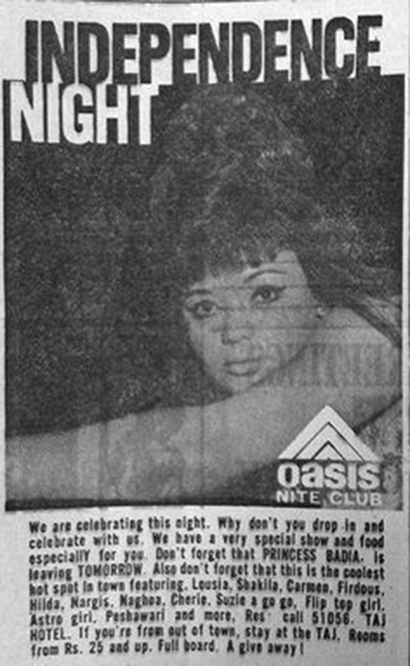 An ad for special Independence Day celebrations at Karachi's Oasis nightclub (1966).
