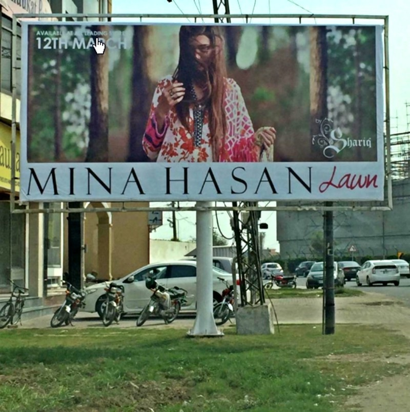 The offending billboard of the Mina Hasan lawn collection for Shariq Textiles - Photo courtesy Rabia Butt's Instagram