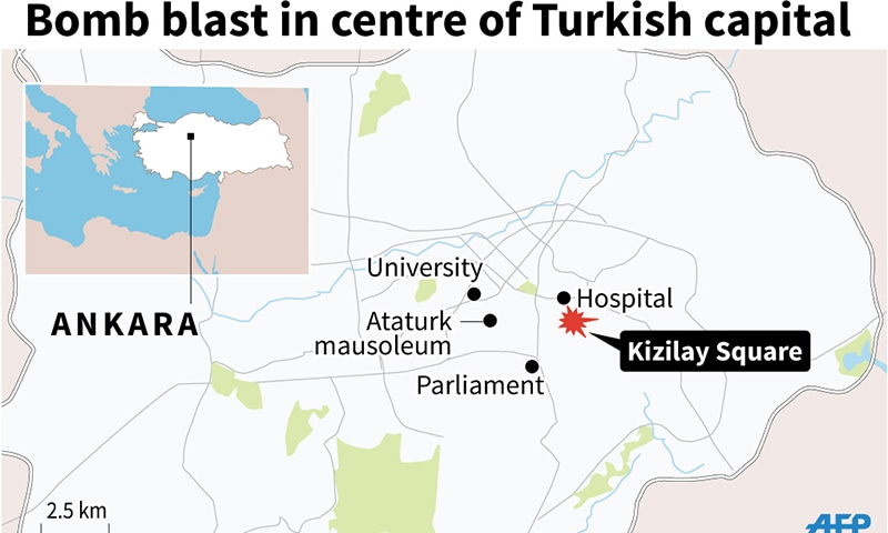 Map of Ankara locating attacks.