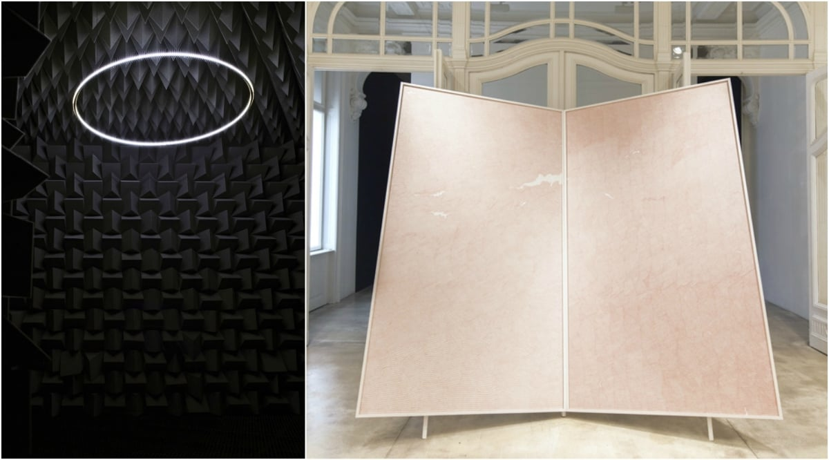 Left: Haroon Mirza, The National Pavilion of Then and Now, 2011. Anechoic Chamber, LEDs, Amp, Speakers, Electronic Circuit, 800x700x330 cm approx. Courtesy of the Artist and Lisson Gallery, London | Right: Waqas Khan, The Text in Continuum, 2015. Ink on paper, metal. 239x270 cm. Courtesy of the Artist and Galerie Krinzinger, Vienna