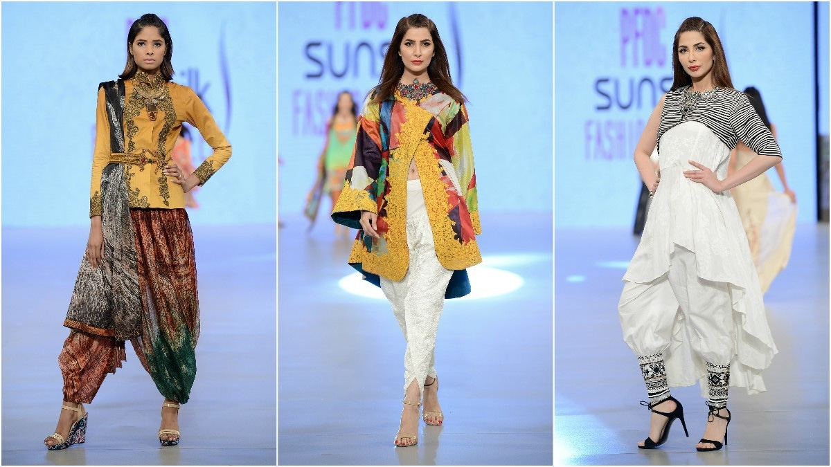 Nilofer Shahid kept things interesting with the striking use of embroidery and silhouette; Areeba Habib's cape was particularly interesting