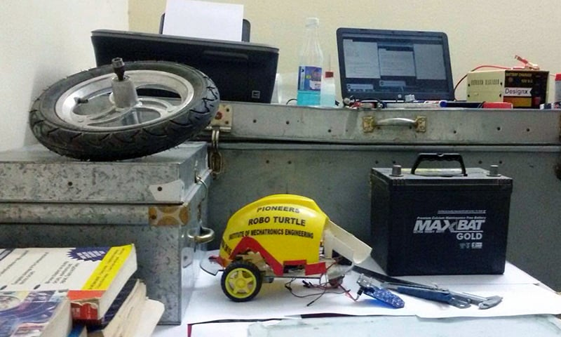 The first locally-built emergency braking system has been installed in a car in Pakistan. —Photo by the author