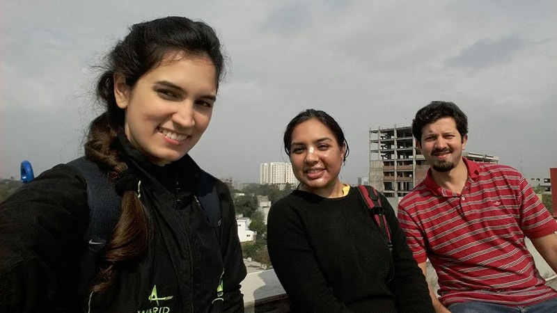 Right after the incident with friends from my cycling group, Zaira and Zeeshan. —Photo provided by author