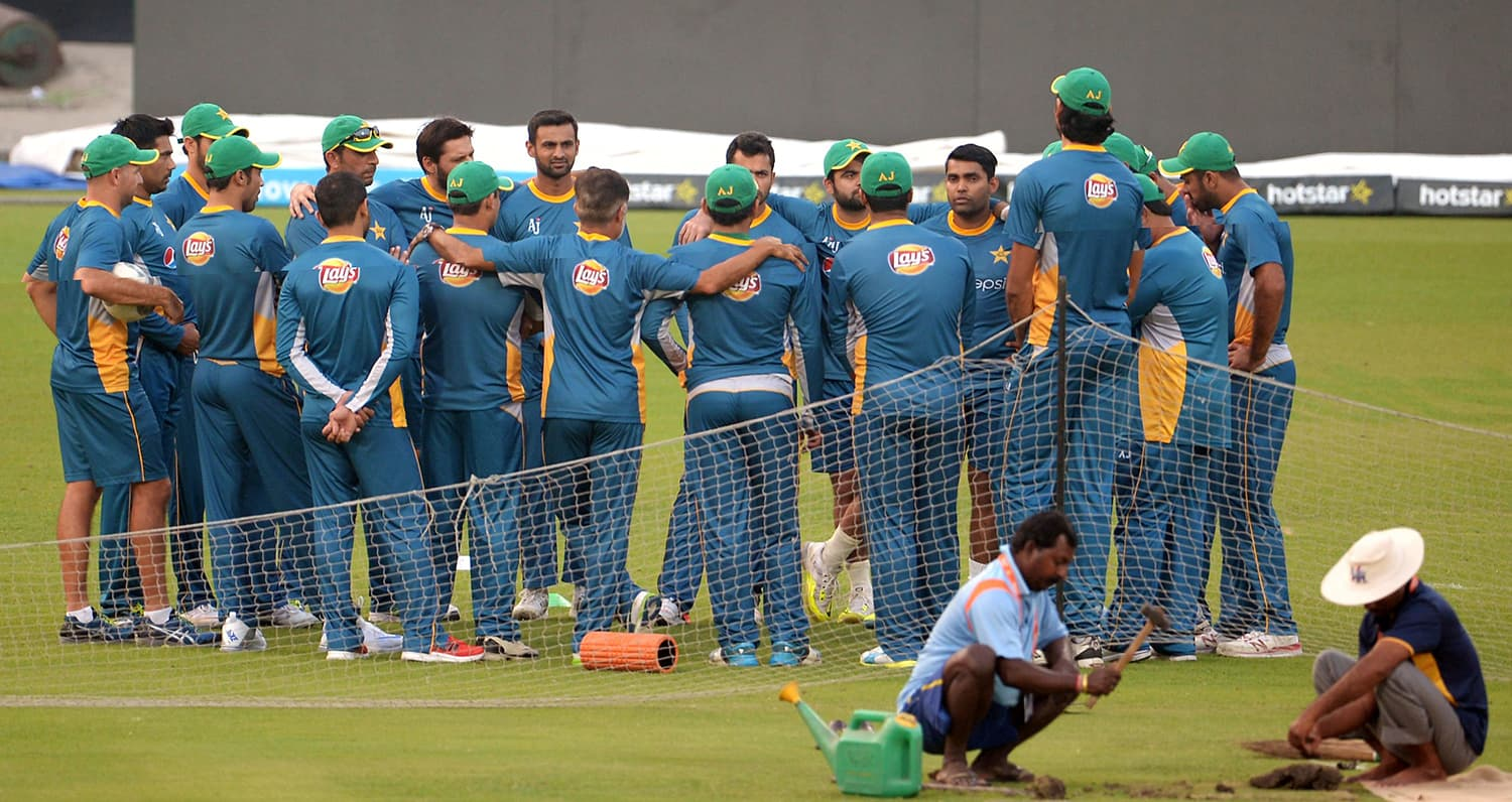Pakistan's cricketers gather during a training session at The Eden Gardens in Kolkata. — AFP