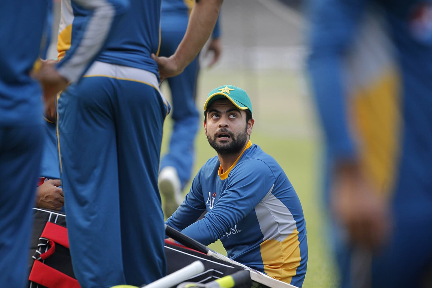 Pakistan's Ahmed Shehzad is seen during a training session in Kolkata. — AP