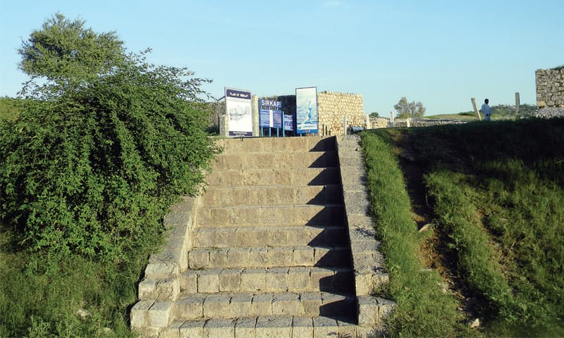 Stairs made in the Grecian style, leading to one of the legendary city's of ancient Buddhist civilisation.