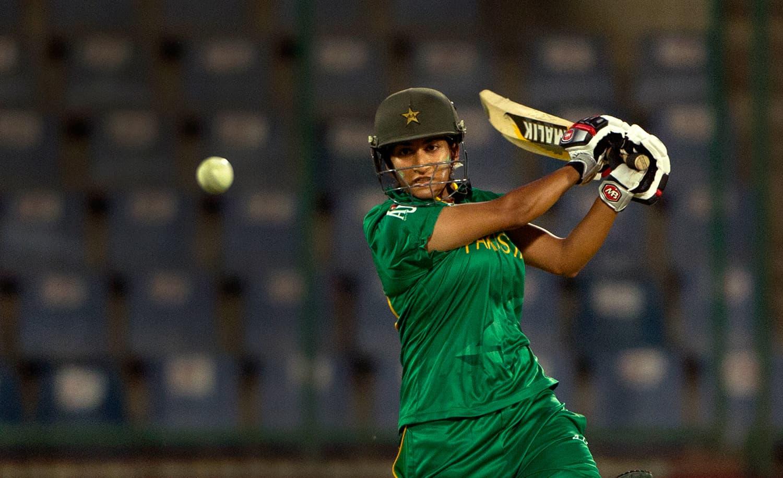Pakistan's Iram Javed hits it hard. — AP