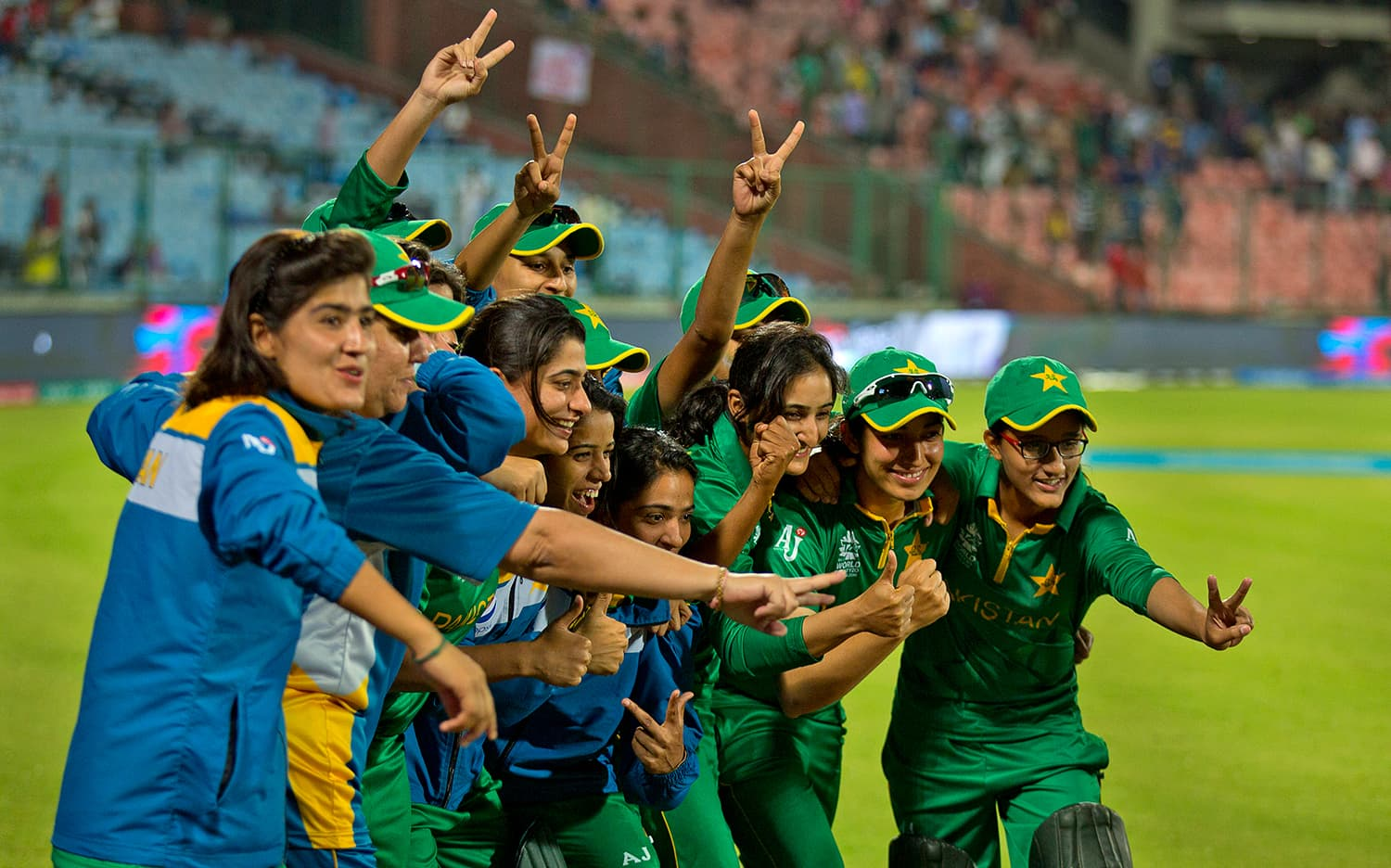 Pakistan cricket team celebrates after they won against India. — AP