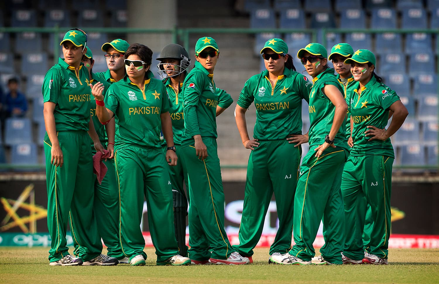 Pakistan players wait for the next Indian batter. — AP