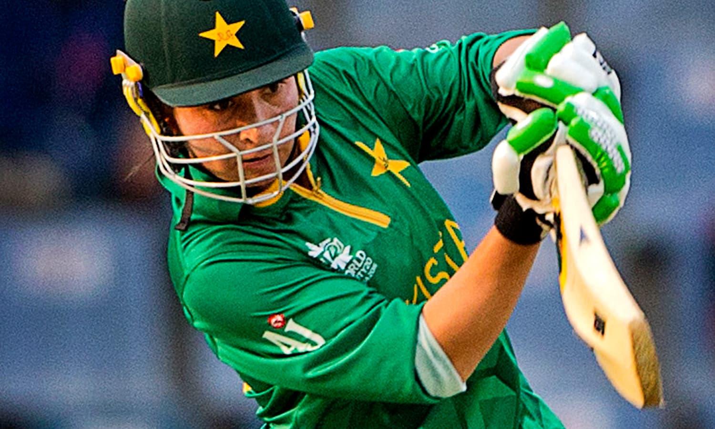 Pakistan's Nahida Khan hits a four. — AP