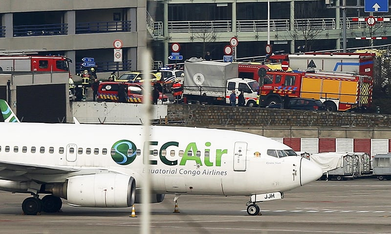 Emergency services at the scene of explosions at Zaventem airport near Brussels, Belgium, March 22, 2016.—Reuters