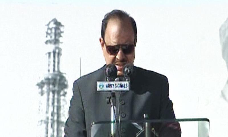 President Mamnoon Hussain delivers speech.—DawnNews