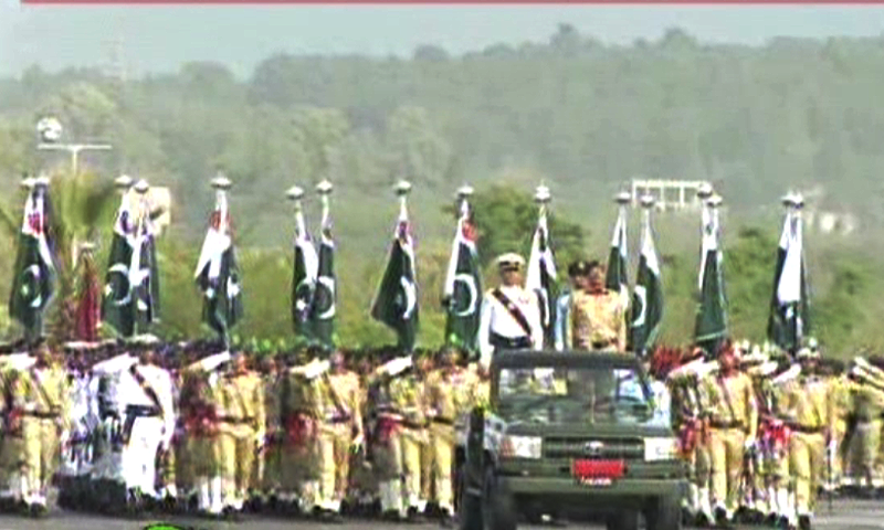 Troops from various regiments of armed forces took part in the march-past.—DawnNews