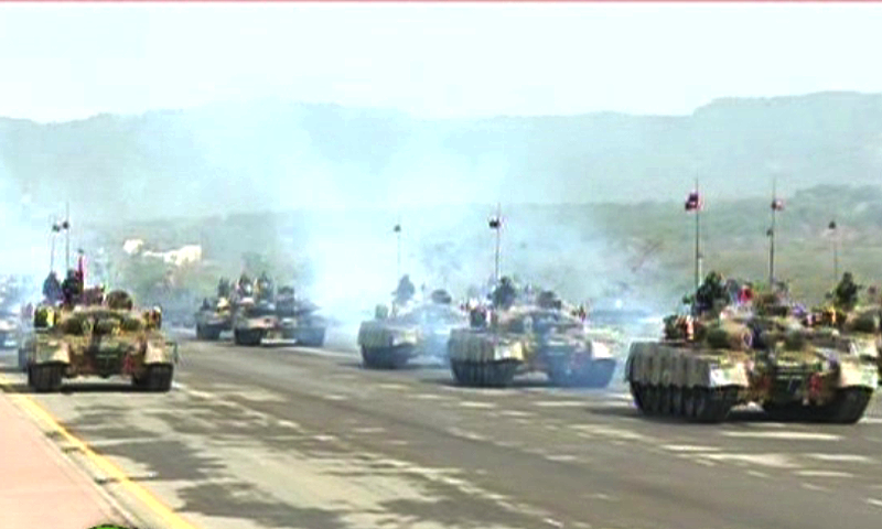 Pakistan Army's tanks participate in the march-past.—DawnNews