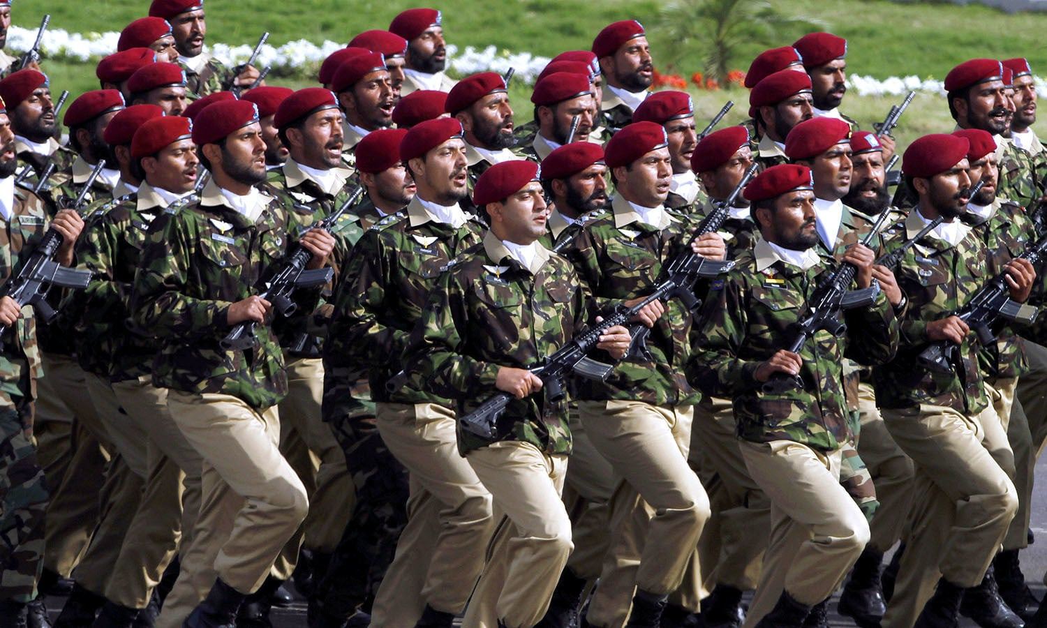 Special forces from the Special Services Group (SSG) march during the Pakistan Day military parade. ─ AP