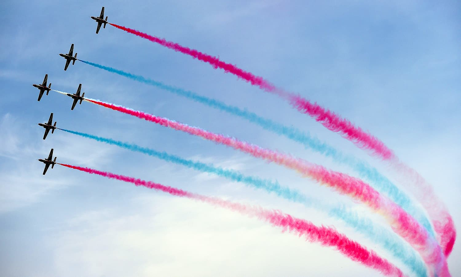 Pakistan Air Force Sherdils perform during the military parade. ─ AFP