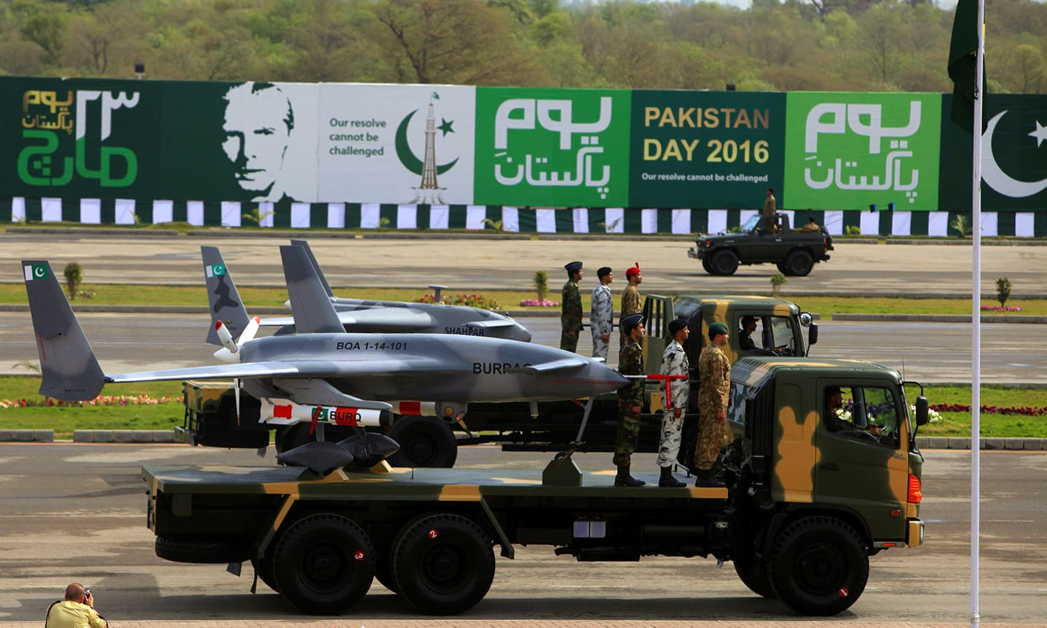 Pakistani-built Burraq unmanned aircraft are displayed during the Pakistan Day military parade. ─ Reuters