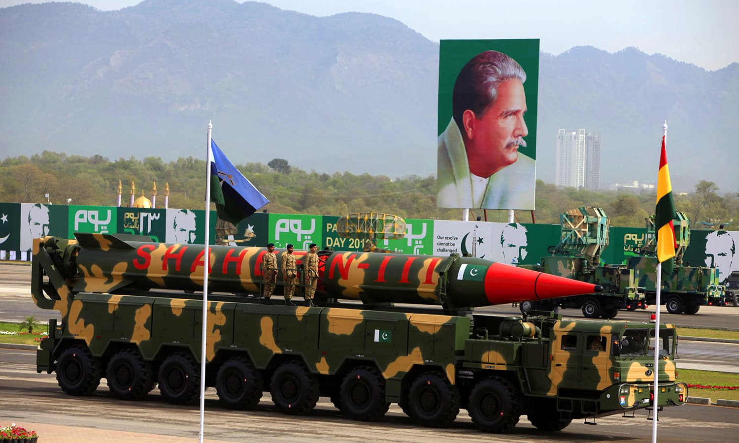 The Shaheen-III missile is displayed during the Pakistan Day parade. ─ Reuters