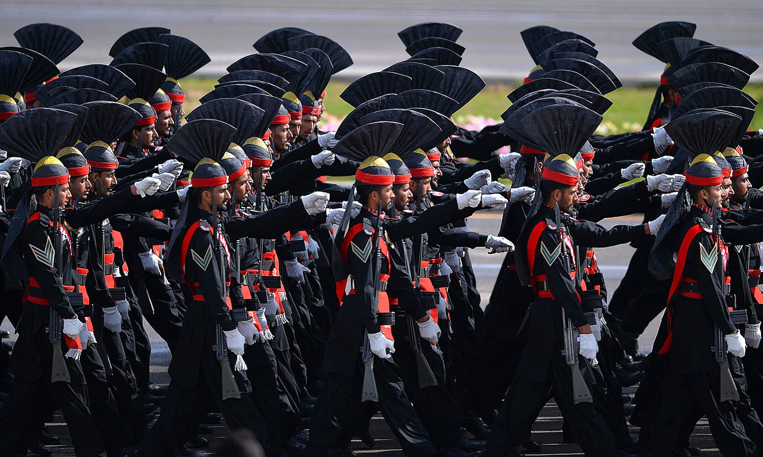 Rangers march during the Pakistan Day military parade. ─ AFP