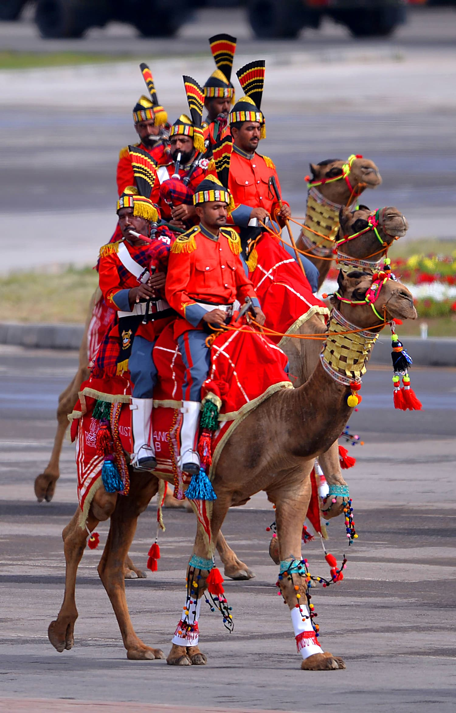A camel-mounted military band performs during the Pakistan Day military parade. — AFP