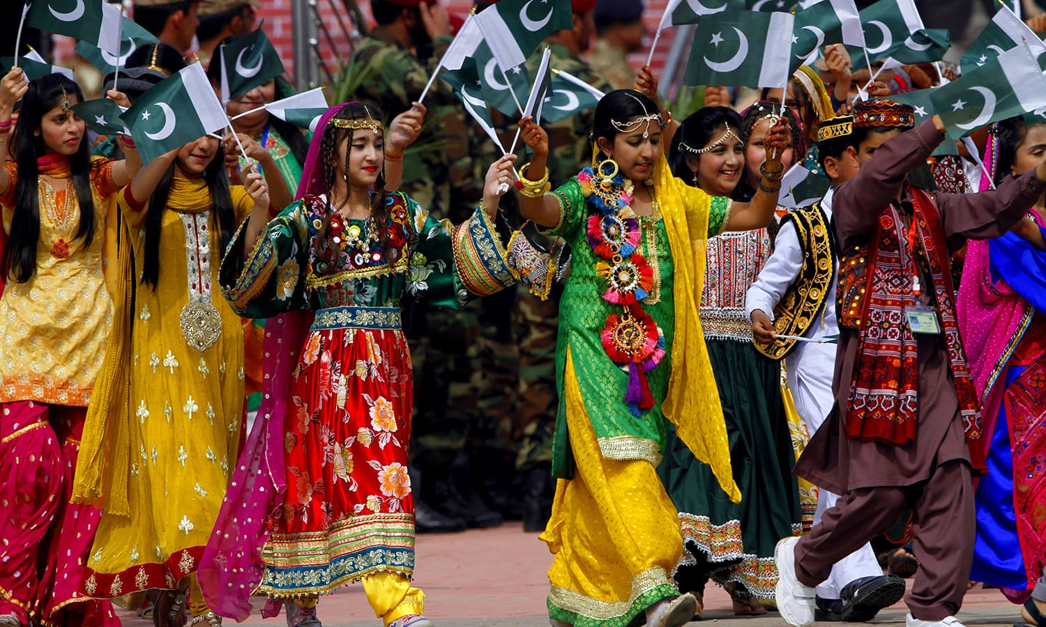 Children take part in a military parade to mark Pakistan's Republic Day. ─ AP