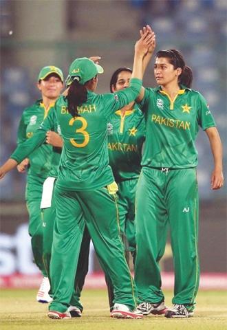 NEW DELHI: Pakistan's women celebrate during their match against Bangladesh at the Feroz Shah Kotla Stadium on Thursday.—ICC