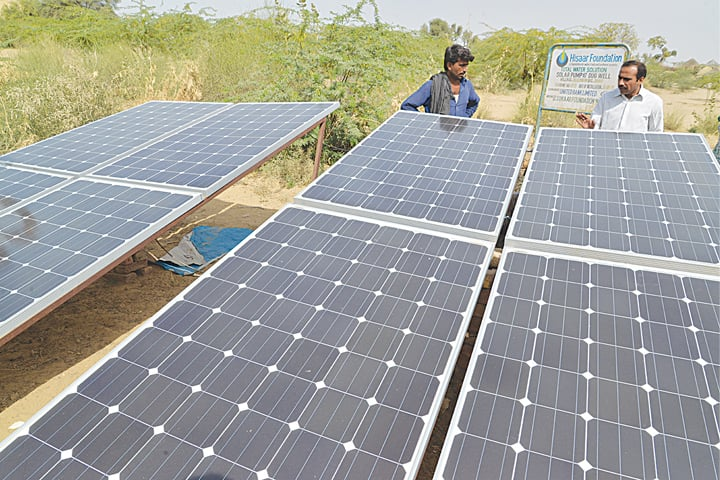 The solar panels that provide energy to solar-powered wells