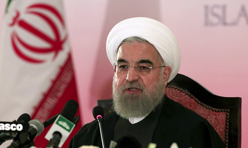 Iran's President Hassan Rouhani speaks during a news conference in Islamabad. —Reuters