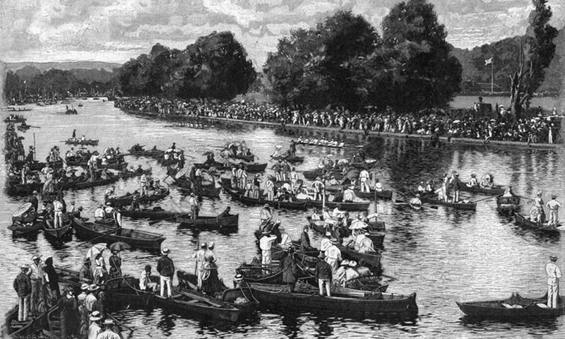View of the Henley Regatta on the Thames near Henley (Oxfordshire, England). Wood engraving by Fritz Bergen, circa 1890.   — AKG Images