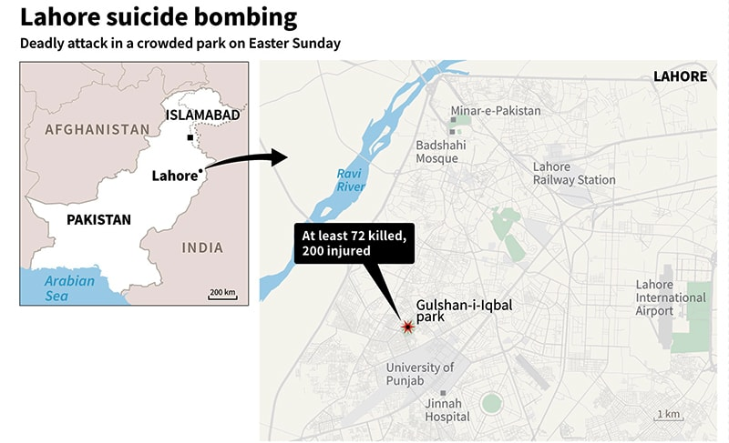 Map showing the site of the attack. ─ AFP