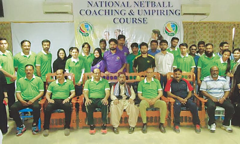 KARACHI: Participants seen with PNF officials during a netball coaching and umpiring course held here recently.