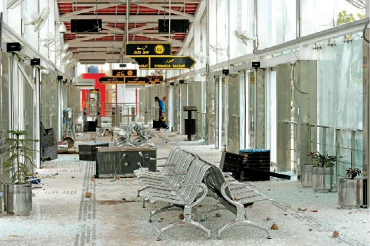 The damaged interior of a metro station which was ransacked by protesters on Sunday night in Islamabad. — Photo by Tanveer Shahzad