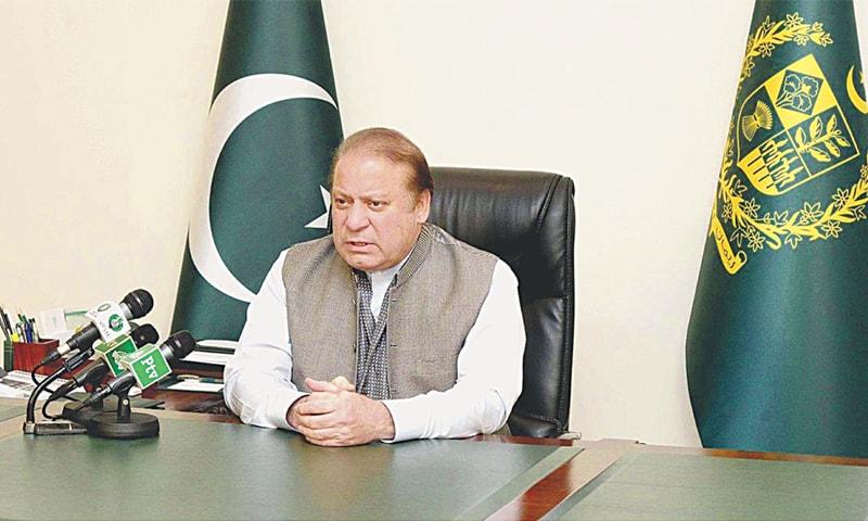 Prime Minister Nawaz Sharif addressing the nation on Monday.—APP