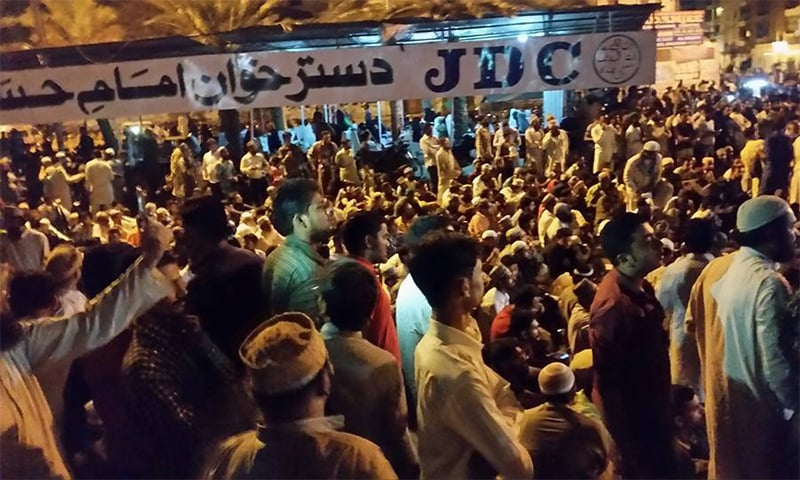 Participants of a pro-Qadri sit-in at Karachi's Numaish Chowrangi.─ Photo: Facebook