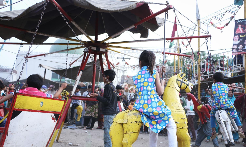 Children enjoying a ride.