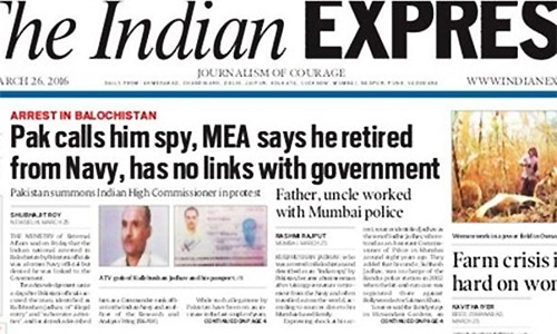 Here's how Indian newspapers covered Jadhav's arrest