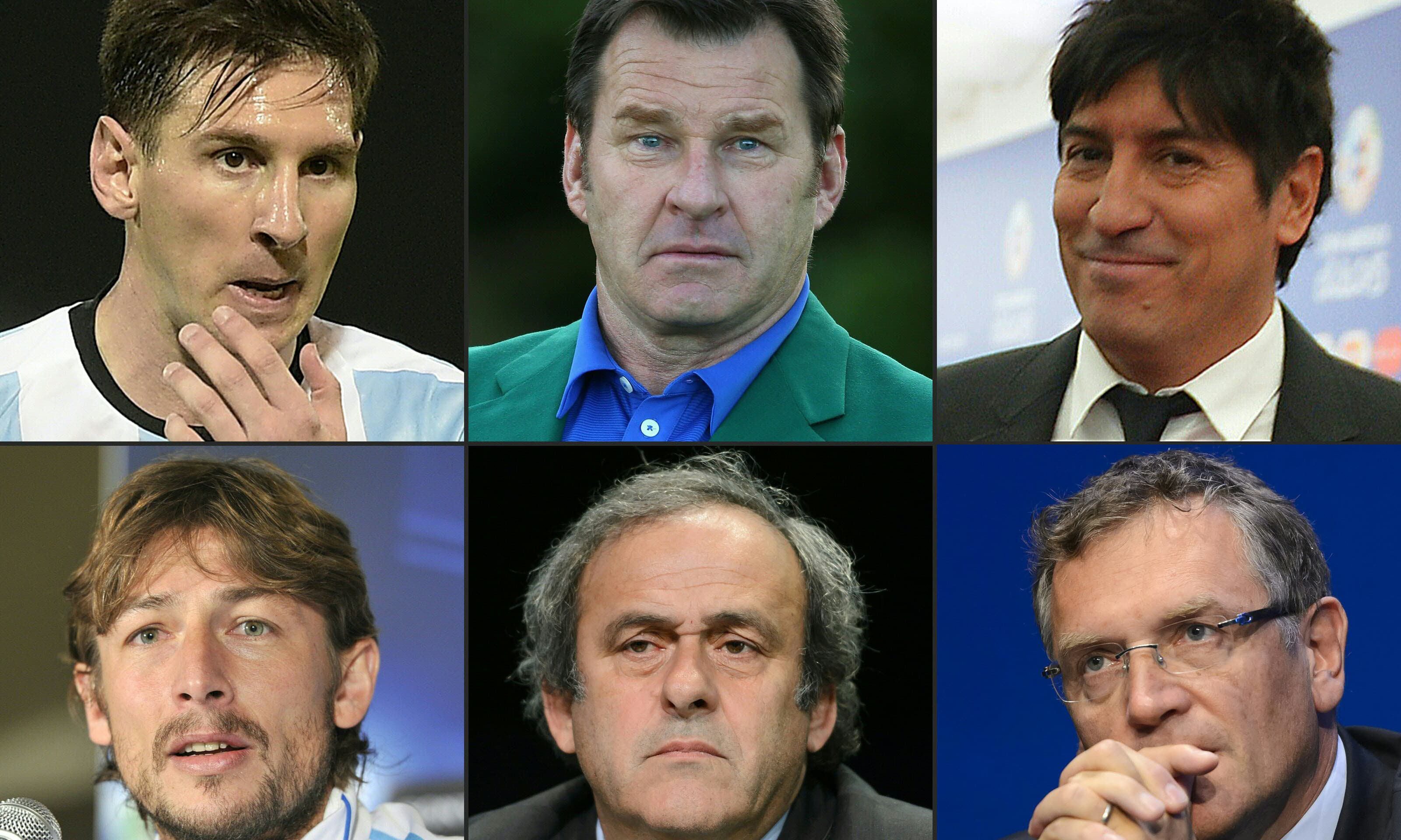 This combination of pictures shows (from L to R) Argentina's football player Lionel Messi, British golf legend Nick Faldo, Chilean footbal star Ivan Zamorano, Argentinian defender Gabriel Heinze, UEFA President Michel Platini and former FIFA Secretary General Jerome Valcke, whose names are featured in the Panama leak. —AFP