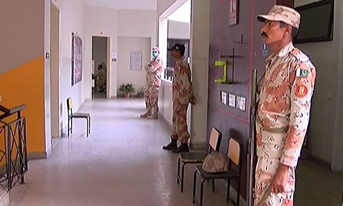 Rangers has been deployed inside and outside polling stations.—DawnNews