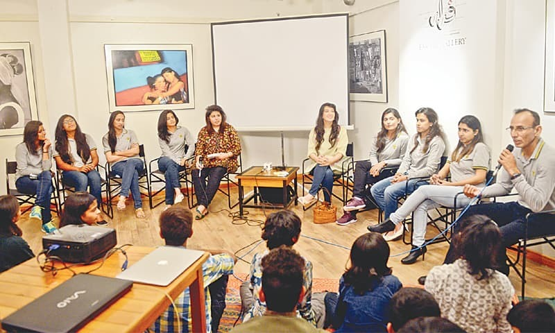Pakistan's former and current women cricketers from Karachi along with their coach share their experiences with a packed-to-capacity audience at T2F on Thursday.—White Star
