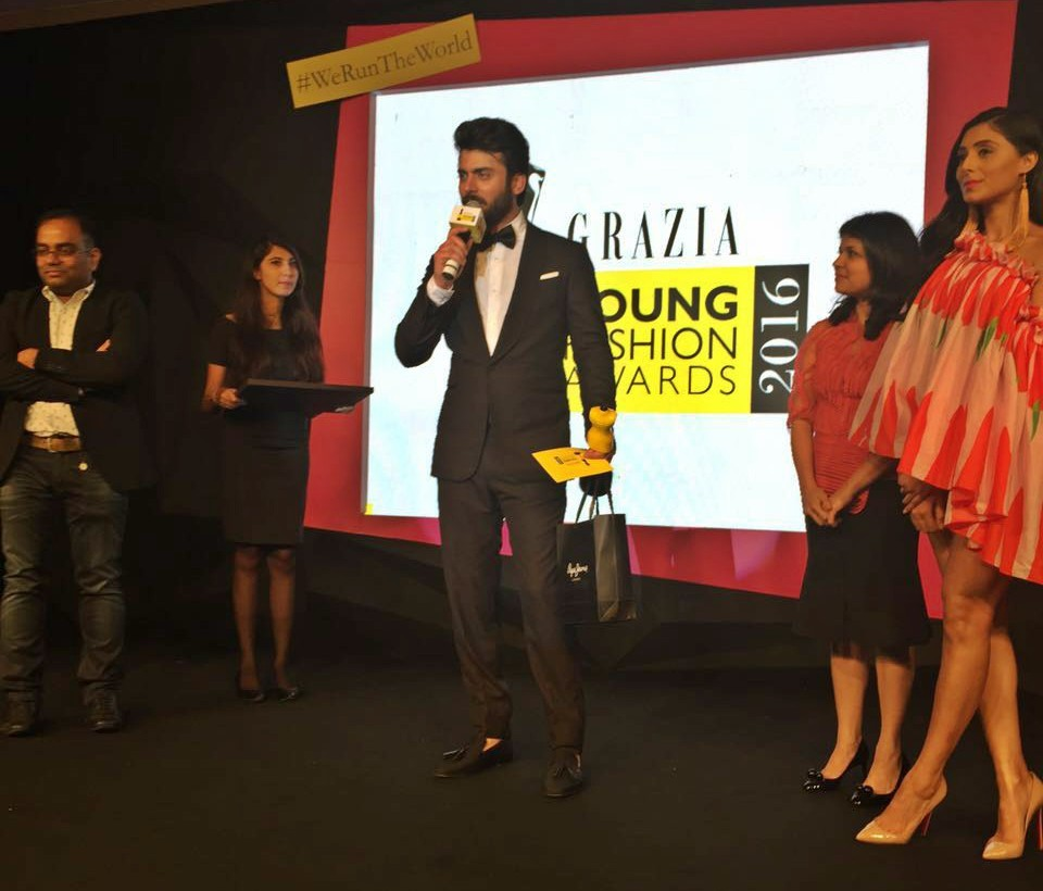 Fawad on stage to accept the Grazia Crush of the Year award