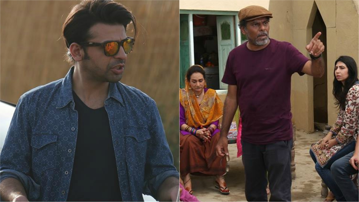 Farhan Saeed as Arsh and director Ehteshamuddin on the sets of Udaari