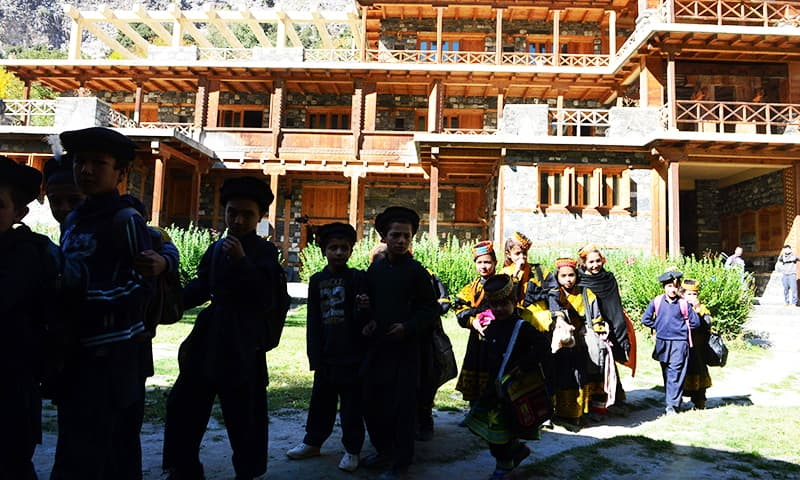 Kalash students leave a school in the Brun village of Bumboret valley. ─ AFP