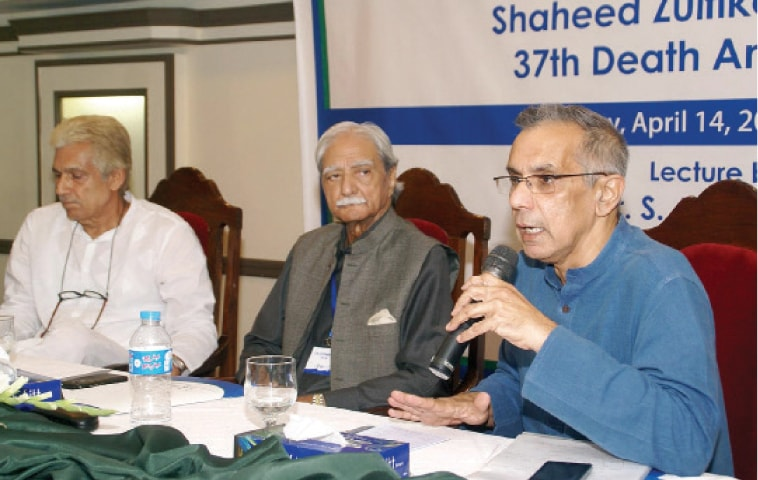 Political economist Professor Dr Akbar S. Zaidi gives lecture on Z. A Bhutto's ecnomic policies at a local hotel on Thursday. — INP