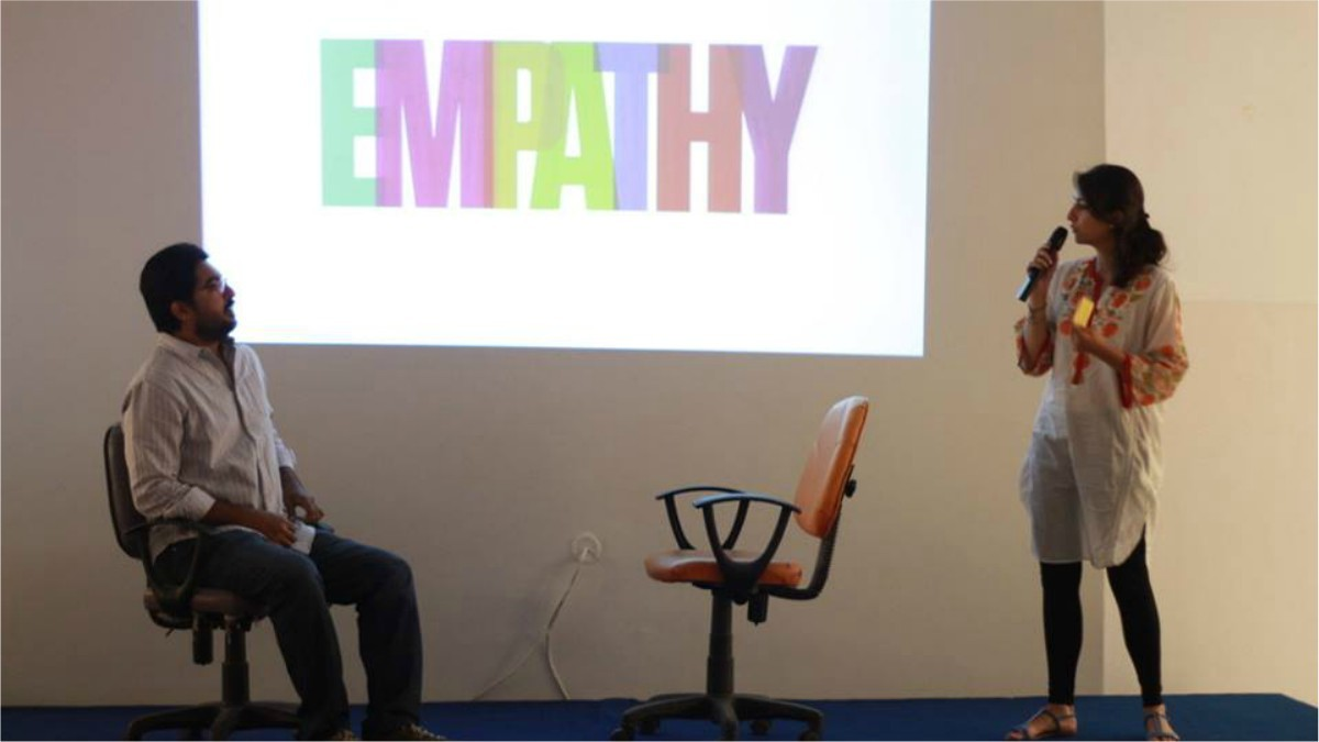 Pictured: Ibadullah and Alizeh Valjee, one of the psychologists involved with the non-profit organization giving a talk